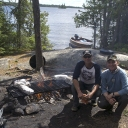 Shore lunch. Ericl Lund (L), Esnagami Wilderness Lodge Trip, July 2014