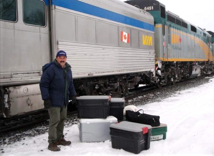 During the winter months, Gerry's (above) camp is only accessible by Via Rail