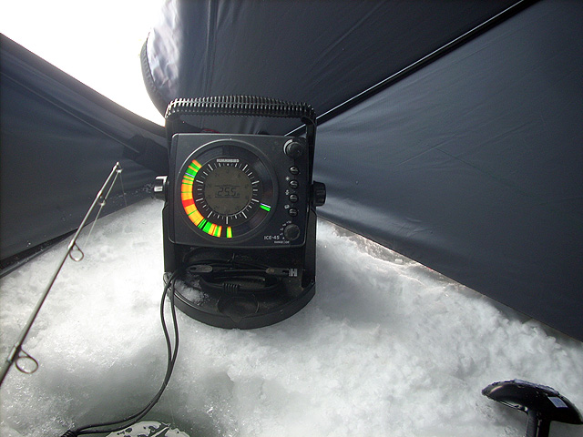 Lake simcoe fishing forum topic perch fishing today 1 2 for Ice fishing flasher