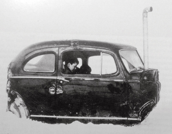 1940 Ford parked on frozen Lake Simcoe